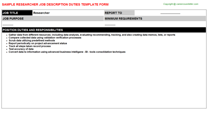 Researcher Job Description Template