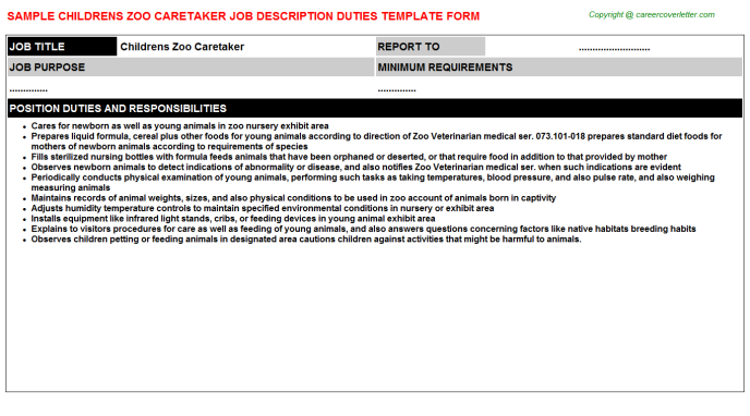 childrens zoo caretaker job description template