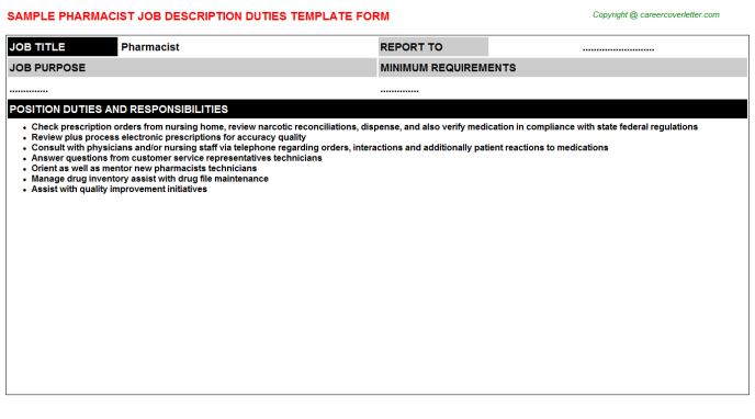 Pharmacist Job Description Template