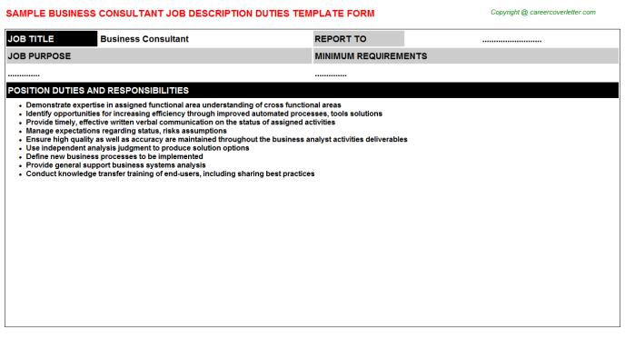 Business Consultant Job Description Template