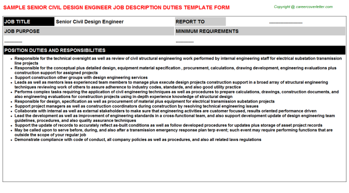 Senior Civil Design Engineer Career Templates