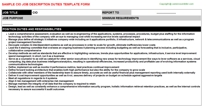 CIO Job Description Template