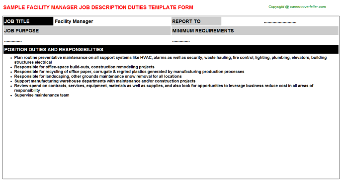 Facility Manager Job Description Template