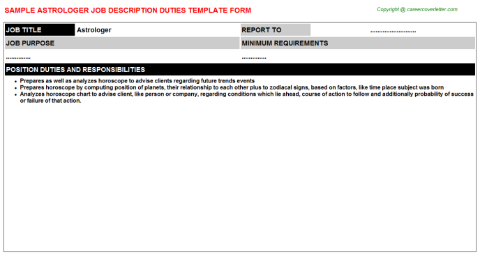 Astrologer Job Description Template