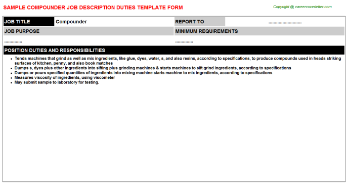 Compounder Job Description Template