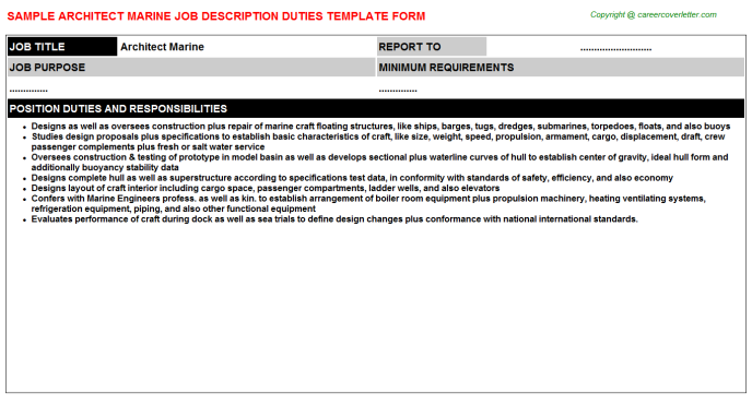 Architect Marine Job Description Template