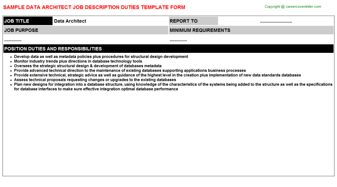 Data Architect Job Description Template