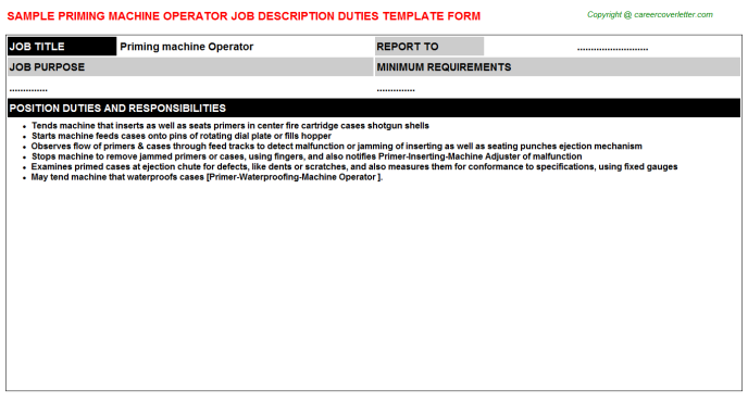 Priming Machine Operator Job Description Template