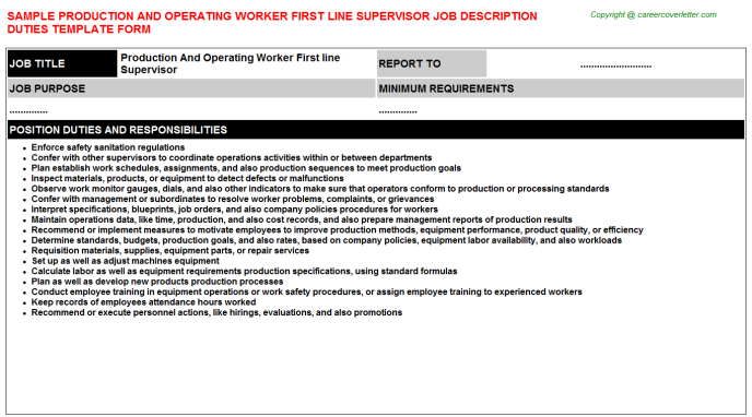 Production and operating worker first line supervisor career job description (#24039)