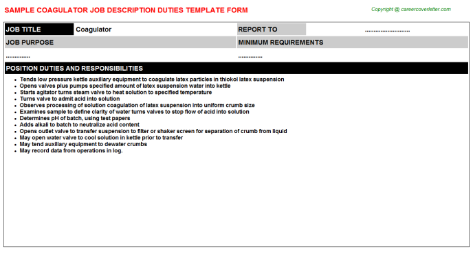 Coagulator Job Description Template