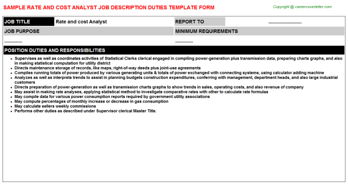rate and cost analyst job description template