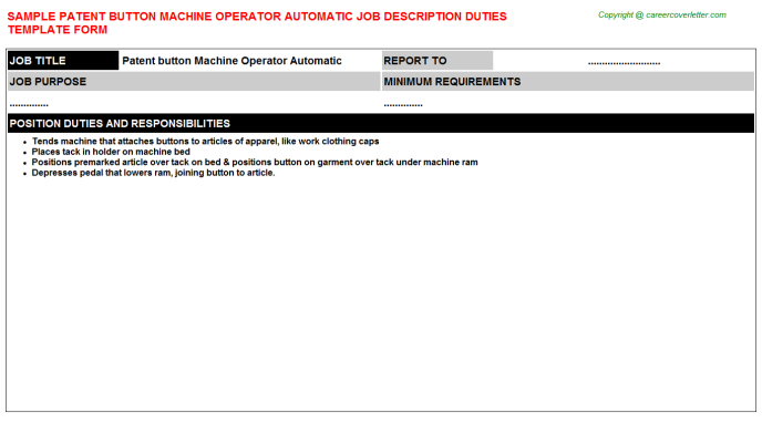 patent button machine operator automatic job description template
