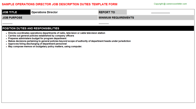 Operations Director Job Description Template
