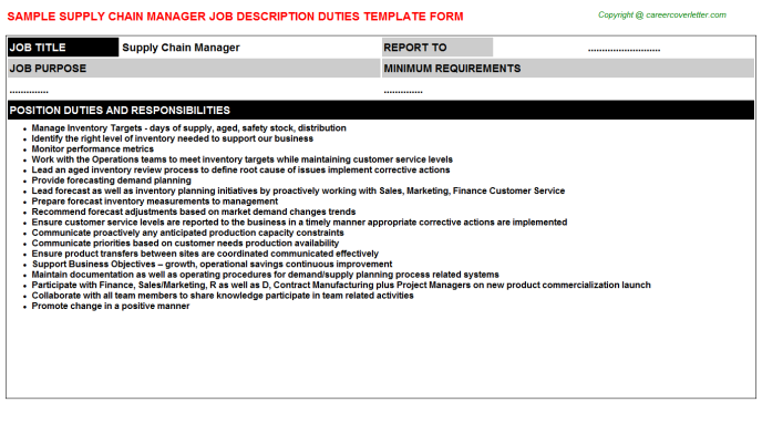 Supply Chain Manager Job Description Template
