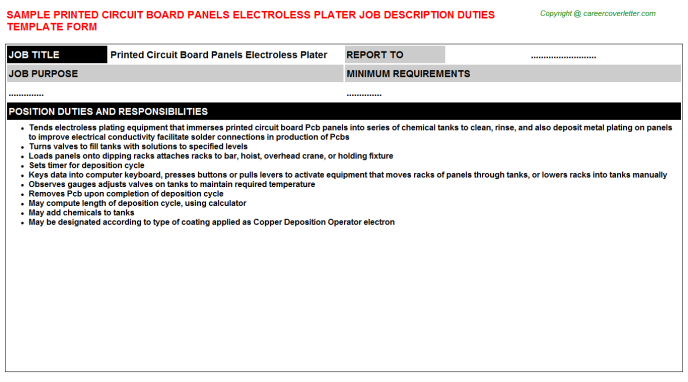 printed circuit board panels electroless plater job description template