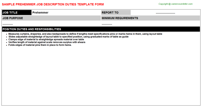 Prehemmer Job Description Template
