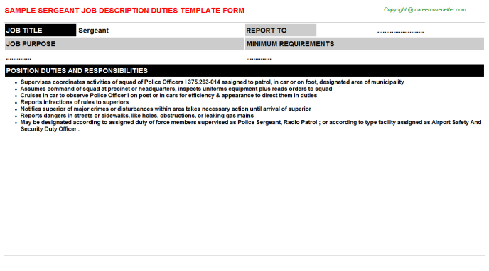 Sergeant Job Description Template