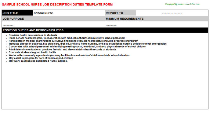 School Nurse Job Description Template