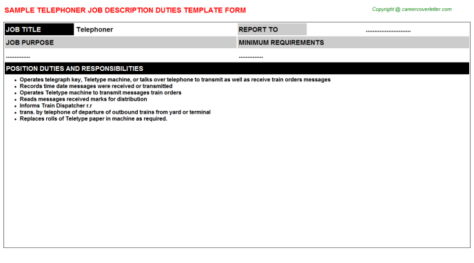 Telephoner Job Description Template