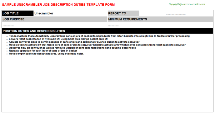 Unscrambler Job Description Template