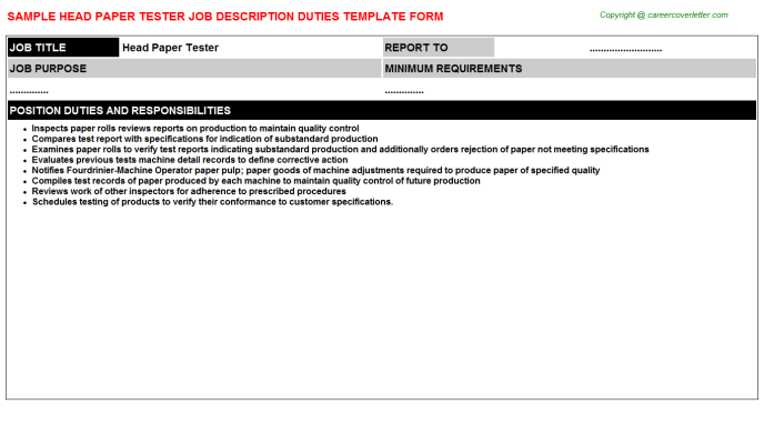Head Paper Tester Job Description Template