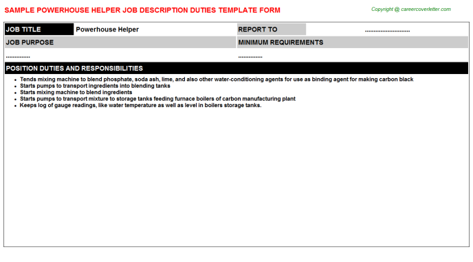 powerhouse helper job description template