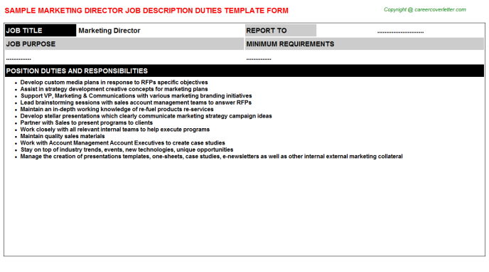 Marketing Director Job Description Template