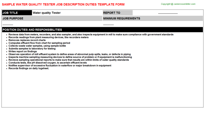 water quality tester job description template