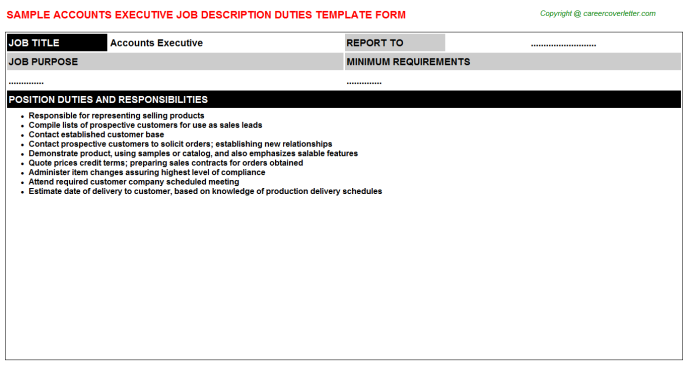 Accounts Executive Job Description Duties Template
