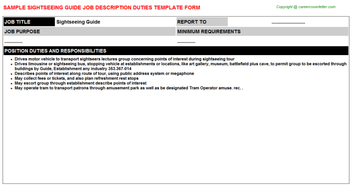 Sightseeing Guide Job Description Template