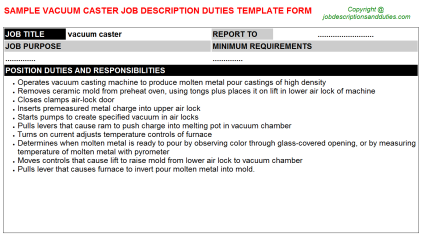 Vacuum Caster Job Description Duties Template
