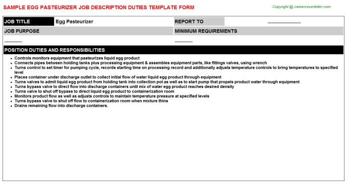 egg pasteurizer job description template