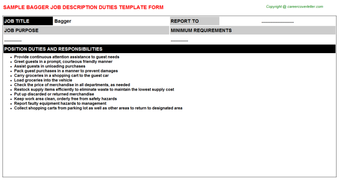 Bagger Job Description Template