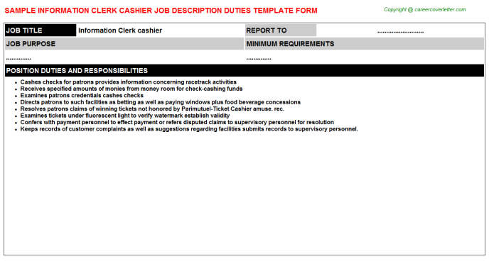 information clerk cashier job description template
