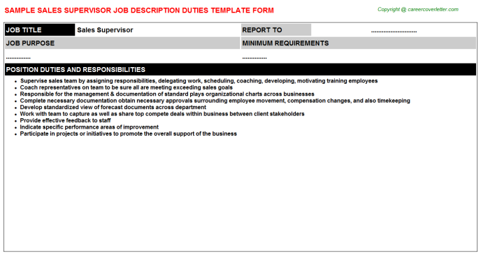 Sales Supervisor Job Description Template