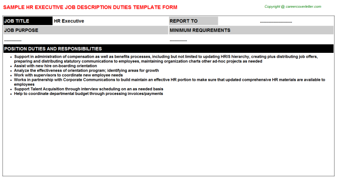 HR Executive Job Description Template