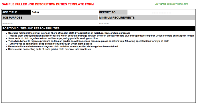 Fuller Job Description Template