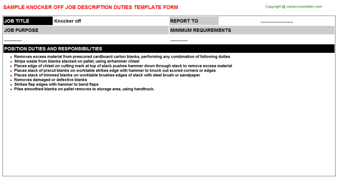 Knocker Off Job Description Template