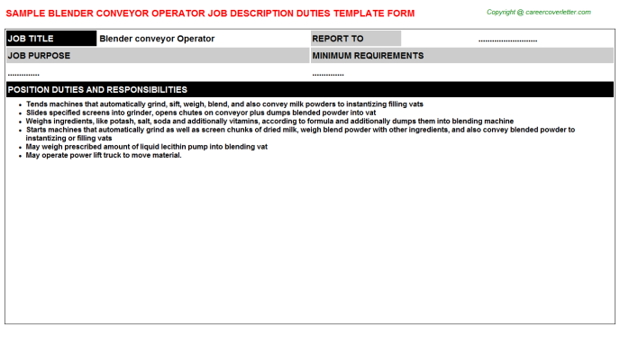 blender conveyor operator job description template
