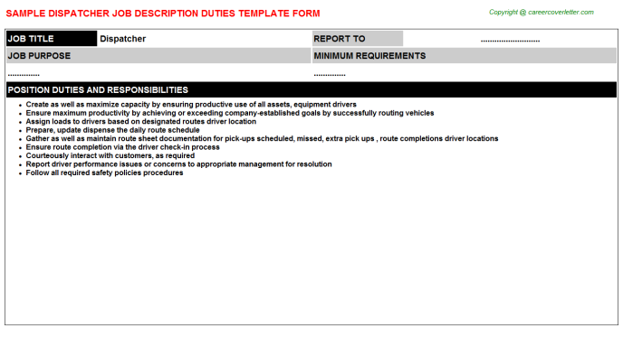 Dispatcher Job Description Template