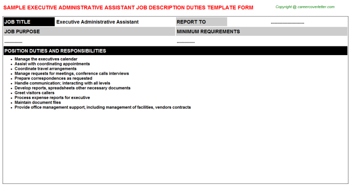 Executive Administrative Assistant Job Description Template