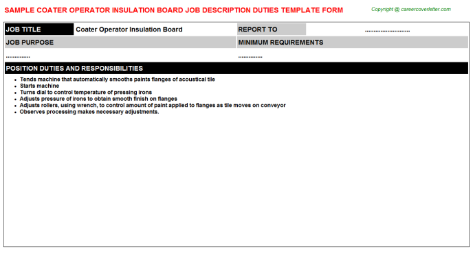 coater operator insulation board job description template