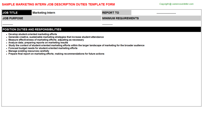 Marketing Intern Job Description Template
