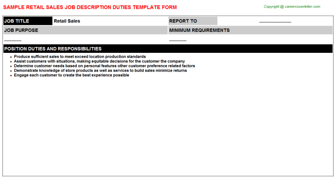 Retail Sales Job Description Template