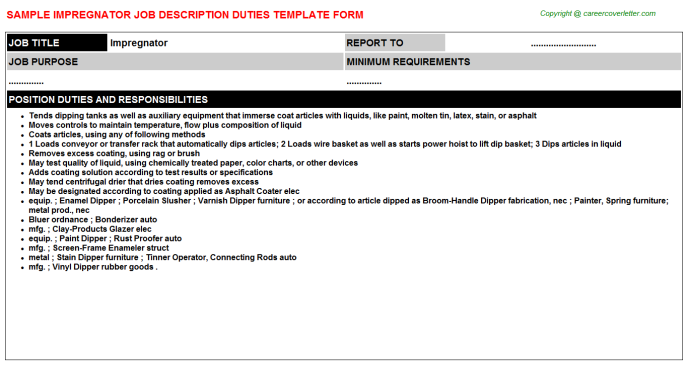 Impregnator Job Description Template