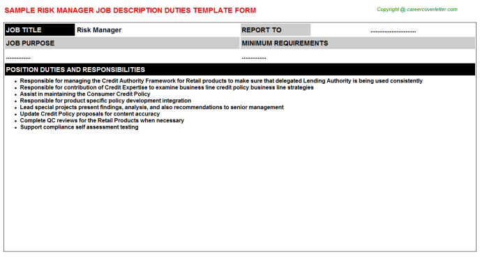 Risk Manager Job Description Template