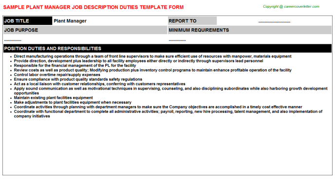 Plant Manager Job Description Template