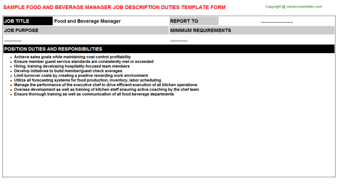 Food and Beverage Manager Job Description Duties Template