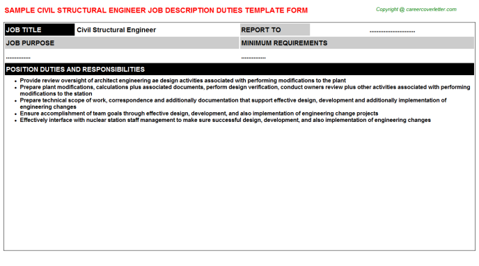 Civil Structural Engineer Job Description Template