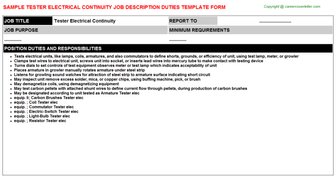 Tester Electrical Continuity Job Description Template